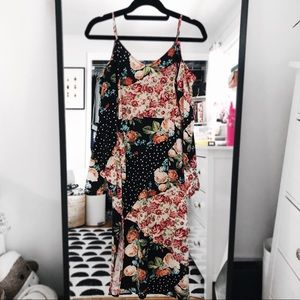 Topshop midi dress off the shoulder patches floral